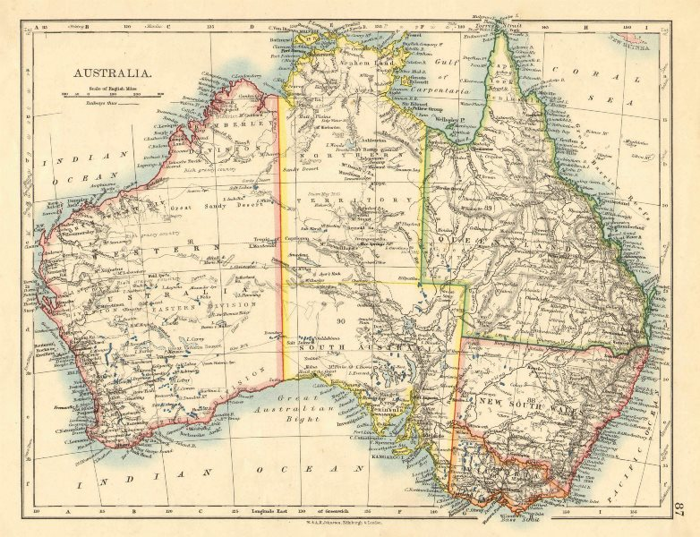 Associate Product AUSTRALIA. States. Showing Northern Territory within SA. JOHNSTON 1899 old map