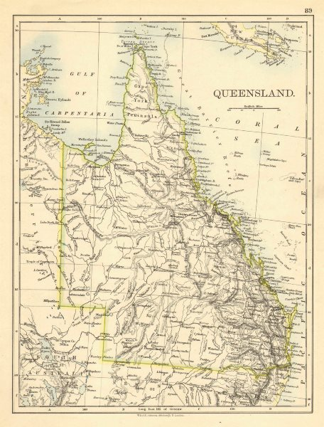 Associate Product QUEENSLAND. State map Brisbane Gold Coast Railways. Australia. JOHNSTON 1899