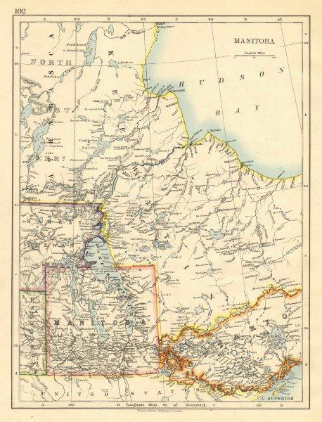 Associate Product MANITOBA. Winnipeg Canadian Pacific Railroad Keewatin Canada.JOHNSTON 1899 map