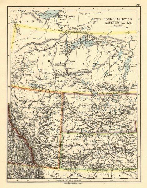 Associate Product CANADA PRAIRIES. Alberta Saskatchewan Assiniboia Athabasca. JOHNSTON 1899 map