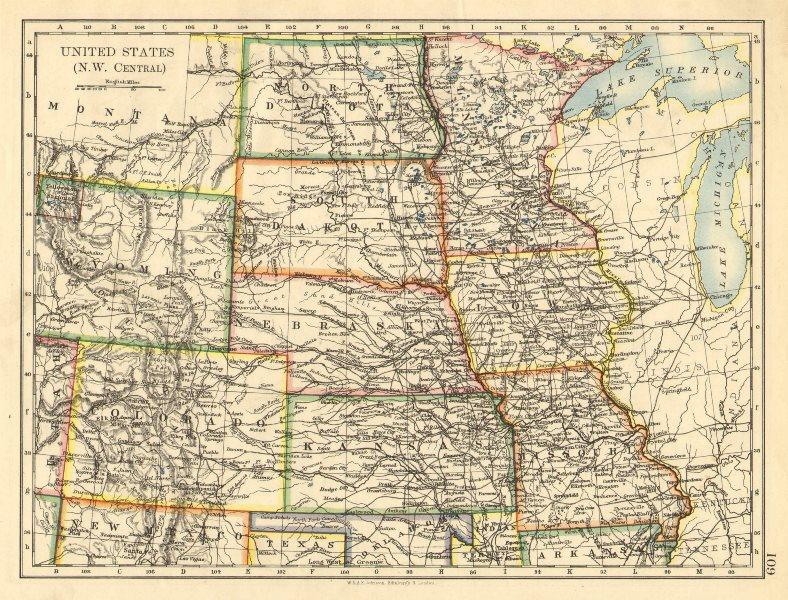 Associate Product USA PLAINS STATES. Iowa Minnesota Kansas NE ND SD Colorado. JOHNSTON 1899 map