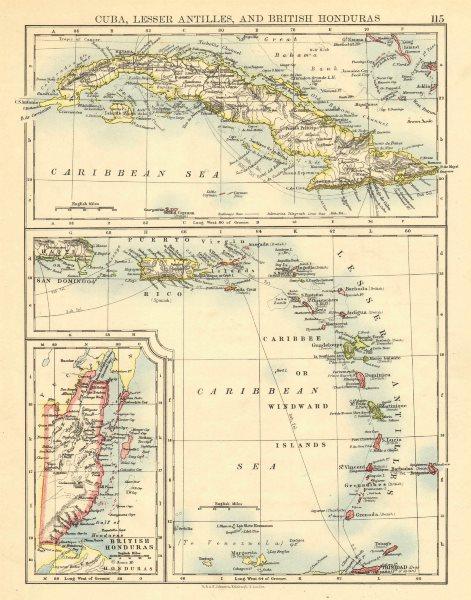 Associate Product CARIBBEAN ISLANDS.Cuba British Honduras Caribbee/Windward. JOHNSTON 1899 map
