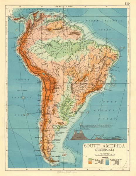 Associate Product SOUTH AMERICA PHYSICAL. Inset West-East cross section. JOHNSTON 1899 old map