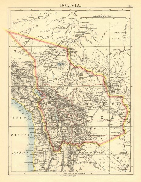 Associate Product BOLIVIA. includes Acre, lost to Brazil in 1899-1903 war. JOHNSTON 1899 old map