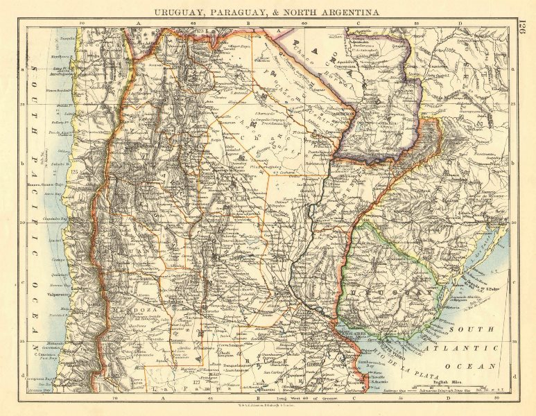Associate Product URUGUAY PARAGUAY NORTH ARGENTINA. River Plate States Chile. JOHNSTON 1899 map
