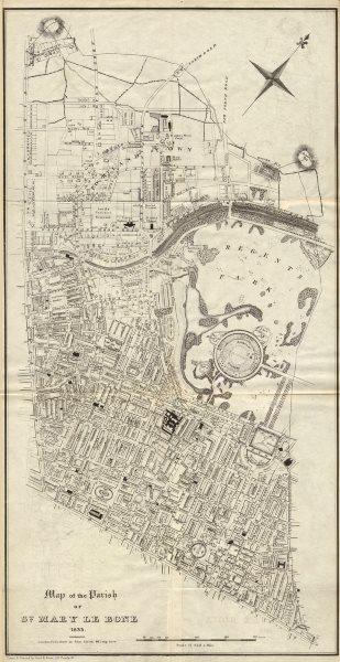 "Associate Product MARYLEBONE ST JOHN'S WOOD. ""Parish of St Marylebone"". Fitzrovia 1833 old map"