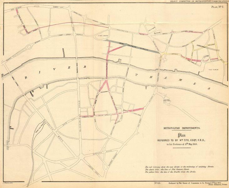 Associate Product Proposed London road improvements, including ST PAUL'S BRIDGE. TITE 1855 map