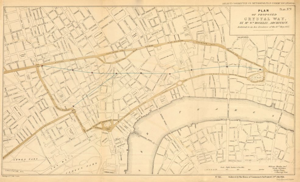Associate Product Proposed CRYSTAL WAY. Oxford Circus - Cheapside. WILLIAM MOSELEY 1855 old map