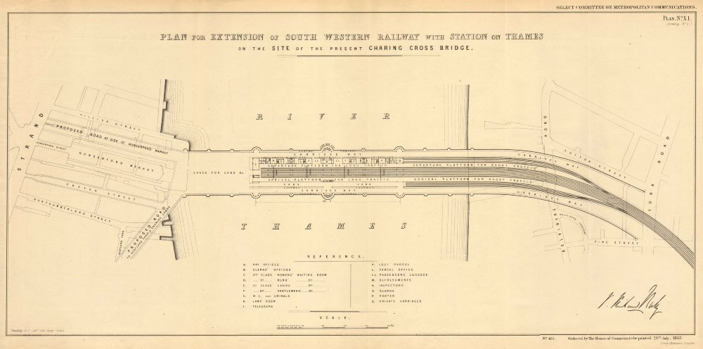 Associate Product Hungerford Bridge STATION-ON-THAMES plan.Charing Cross precursor.BALY 1855 map