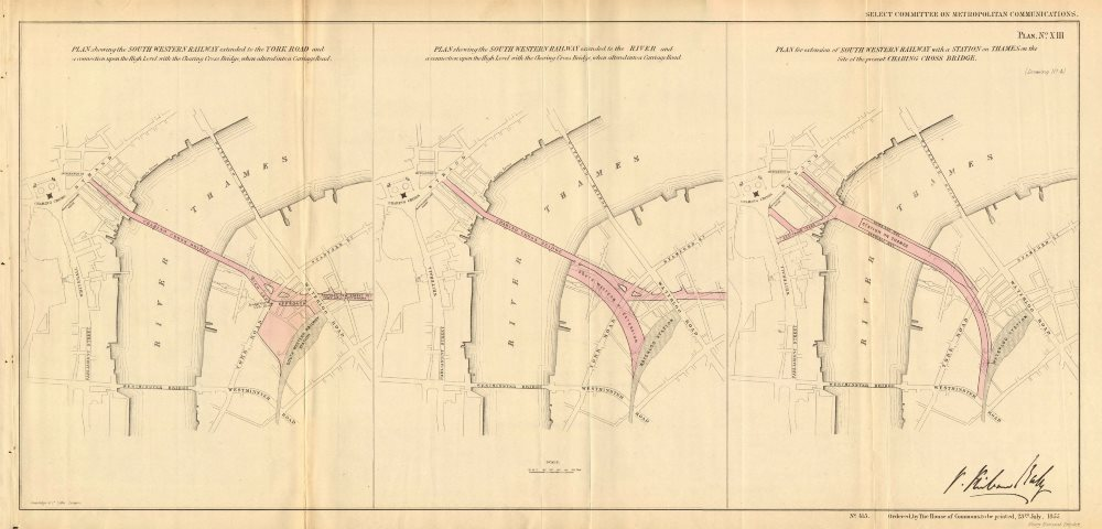 Associate Product CHARING CROSS STATION plans. Hungerford Bridge Station-on-Thames.BALY 1855 map