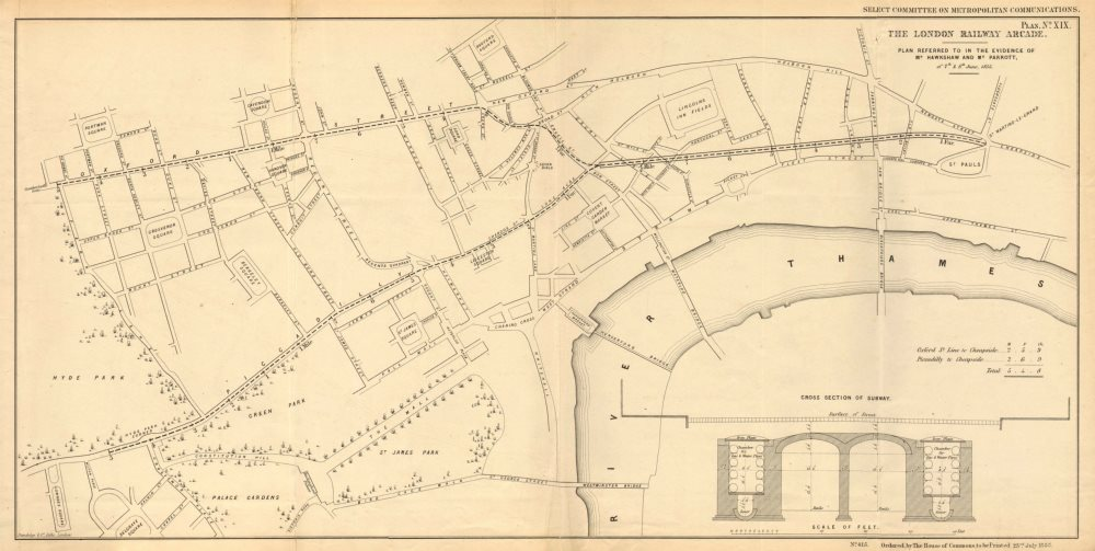 Associate Product LONDON RAILWAY ARCADE. Central/Piccadilly Line precursor. HAWKSHAW 1855 map