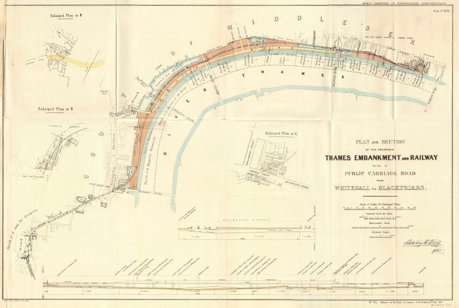 Associate Product Proposed THAMES EMBANKMENT road & railway. Retains Wharves.HENRY BIRD 1855 map