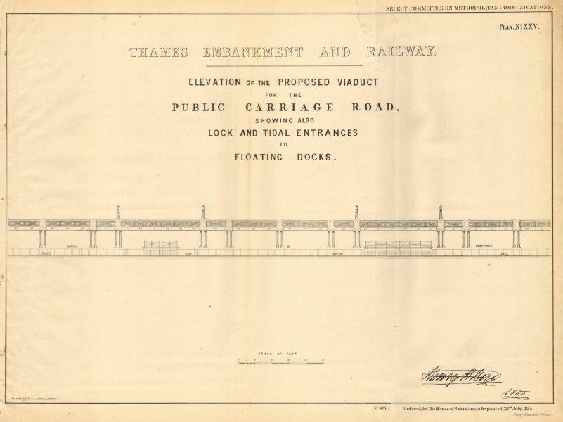 Associate Product Proposed THAMES EMBANKMENT road viaduct. Locks/docks/wharves. H BIRD 1855 map
