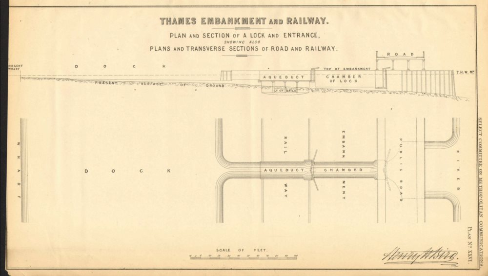 Proposed THAMES EMBANKMENT road viaduct. Lock entrance. HENRY BIRD 1855 map