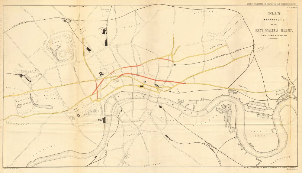 Associate Product Proposals for Charing Cross/Clerkenwell/Theobolds Road Shaftesbury Av 1855 map