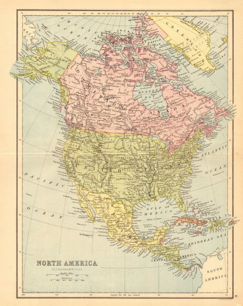 Associate Product NORTH AMERICA. Shows part of Greenland as Canadian. BARTHOLOMEW 1876 old map