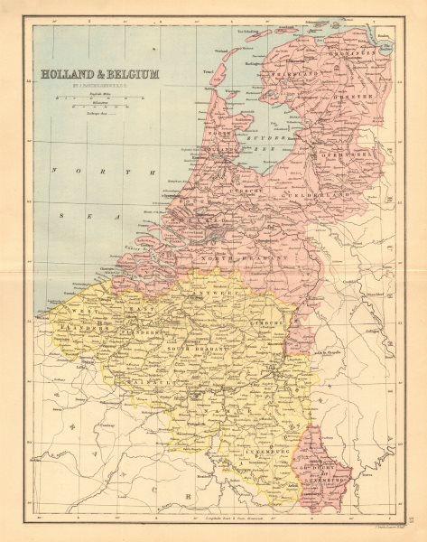 Associate Product BENELUX. 'Holland & Belgium'. Luxembourg. BARTHOLOMEW 1876 old antique map