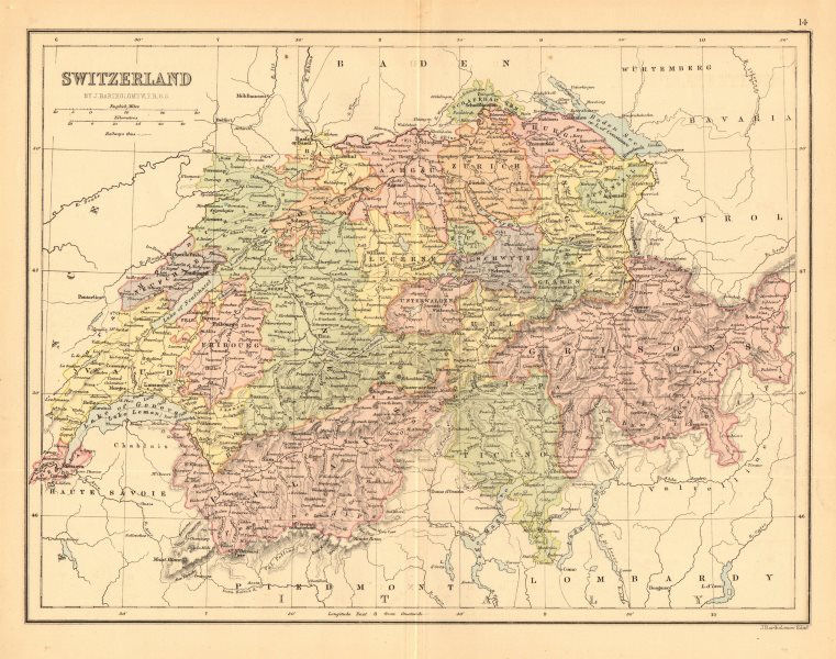 Associate Product 'Switzerland'. Cantons. Railways. BARTHOLOMEW 1876 old antique map plan chart