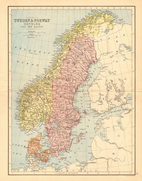 Associate Product SCANDINAVIA. Sweden Norway Denmark Baltic. Railways. BARTHOLOMEW 1876 old map