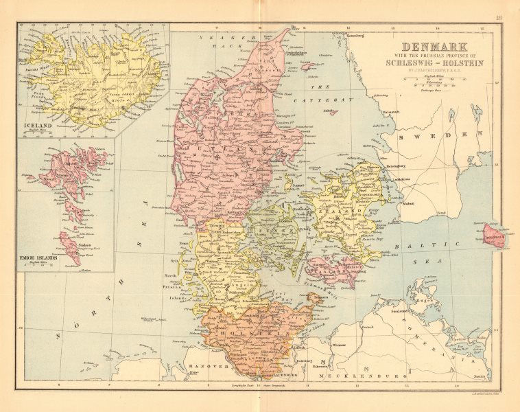 Associate Product DENMARK. Railways. Iceland Schleswig-Holstein. BARTHOLOMEW 1876 old map
