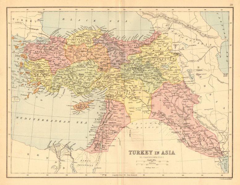 Turkey in Asia'. Levant Syria Cyprus Mesopotamia Railways.BARTHOLOMEW 1876 map