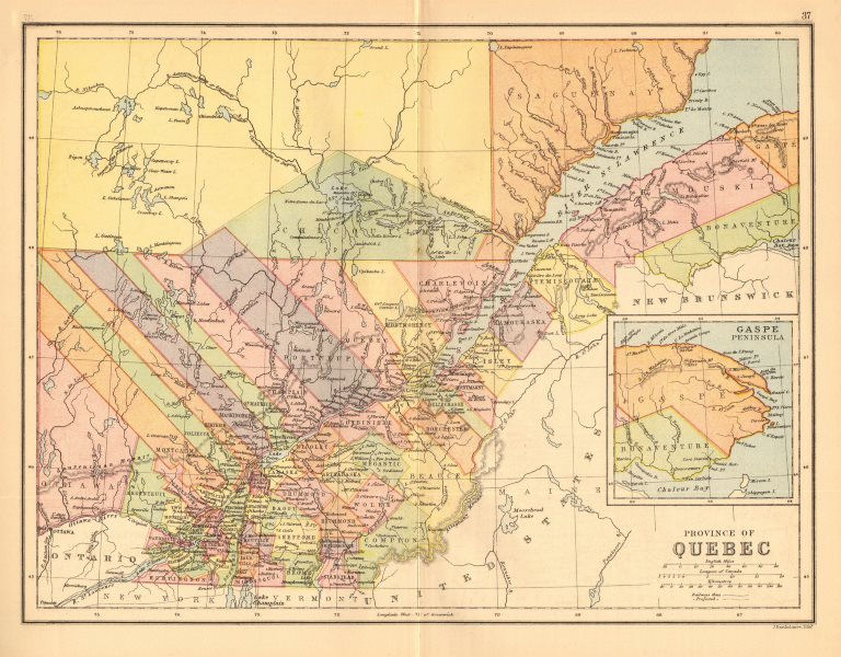 Associate Product QUEBEC. St Lawrence. Counties. Railways. Canada. BARTHOLOMEW 1876 old map