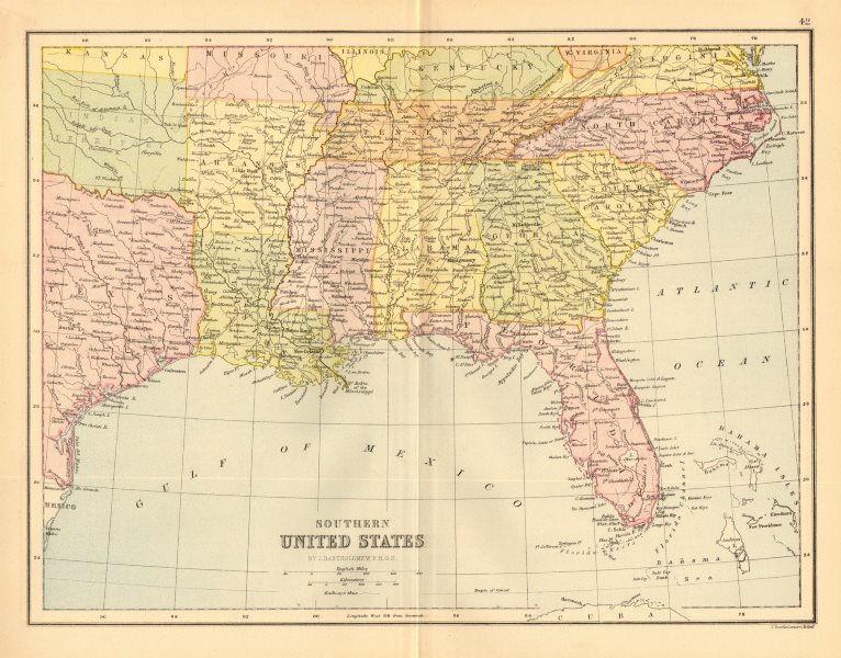 Associate Product SOUTH EASTERN USA. United States. Gulf Coast Florida. BARTHOLOMEW  1876 map