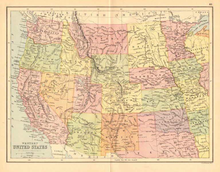 Associate Product WESTERN USA. Pacific/Mountain states.Unified 'Dacota'.Indian territory 1876 map