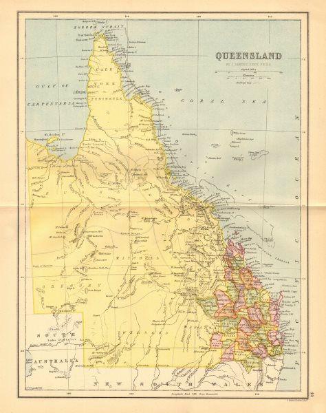 Associate Product QUEENSLAND. State map shows 37 counties. Railways. Brisbane. Australia 1876