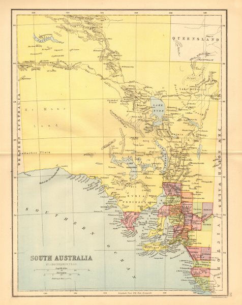 Associate Product SOUTH AUSTRALIA. State map shows 24 counties. Railways. Adelaide 1876 old