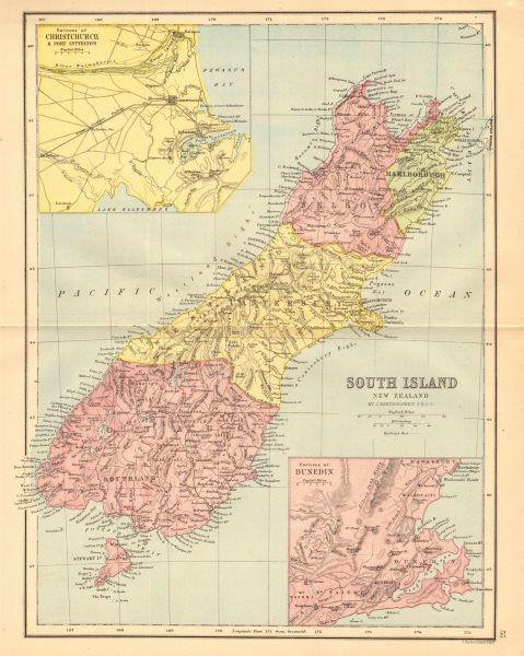 Associate Product SOUTH ISLAND NEW ZEALAND. Shows 1870 provinces. Dunedin Christchurch 1876 map
