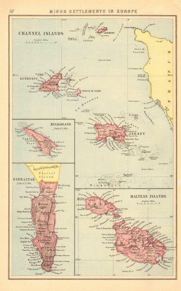 Associate Product BRITISH EUROPEAN SETTLEMENTS. Jersey Heligoland Gibraltar Cyprus Malta 1876 map