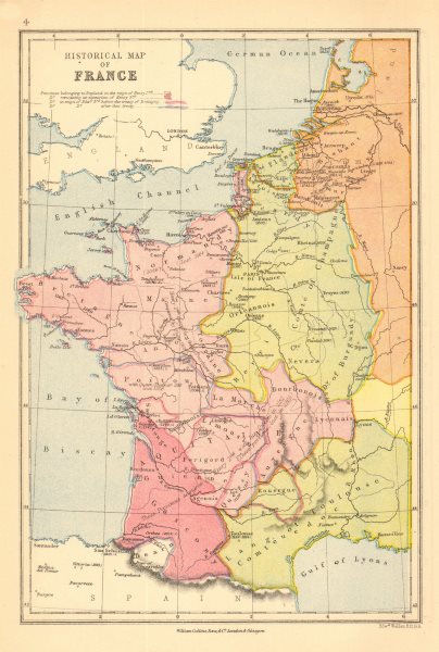 Associate Product FRANCE HISTORICAL. English territories under Henry II III Edward III 1876 map