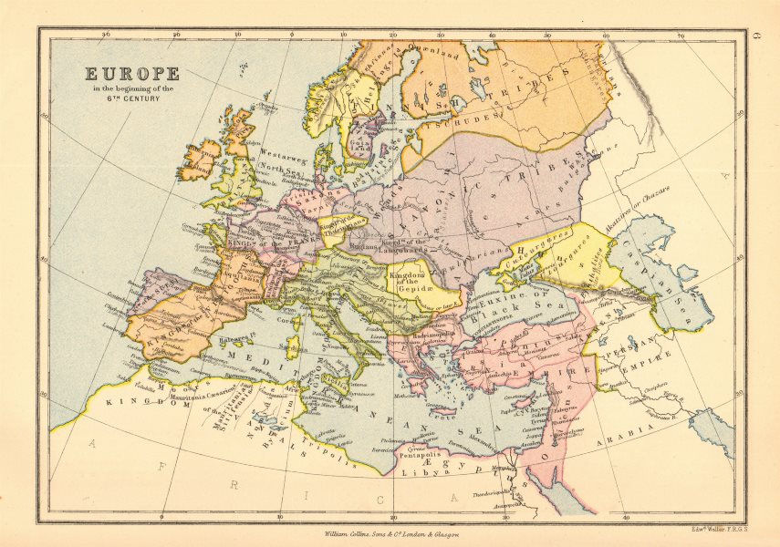 Associate Product 'Europe in the beginning of the 6th Century'. BARTHOLOMEW 1876 old antique map