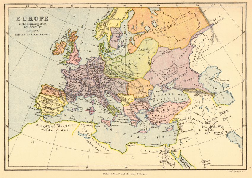 Associate Product EMPIRE OF CHARLEMAGNE. 'Europe in the beginning of the 9th Century' 1876 map