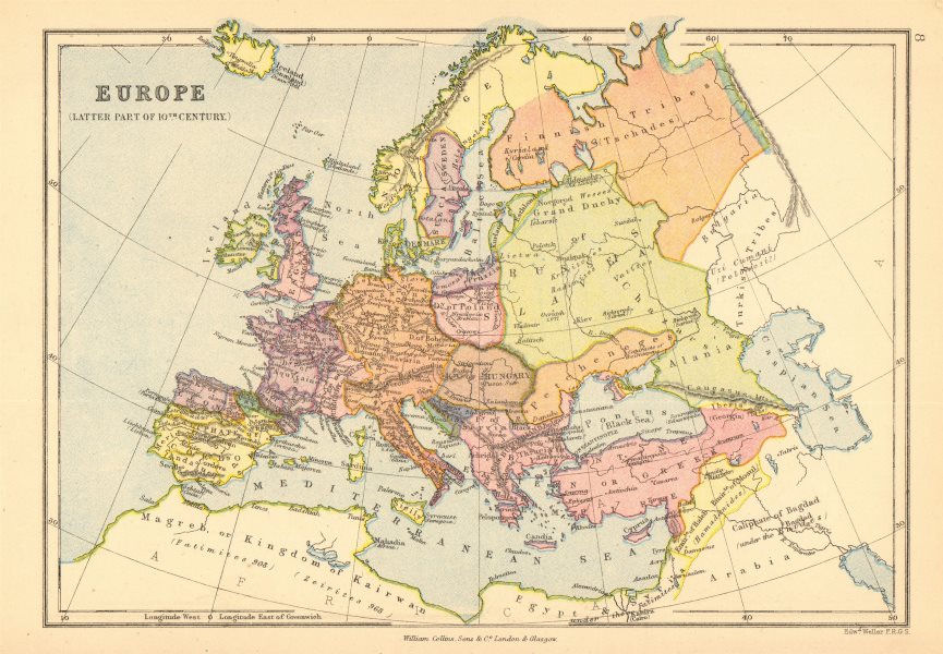 Associate Product 'Europe (Latter part of 10th Century)'. BARTHOLOMEW 1876 old antique map chart