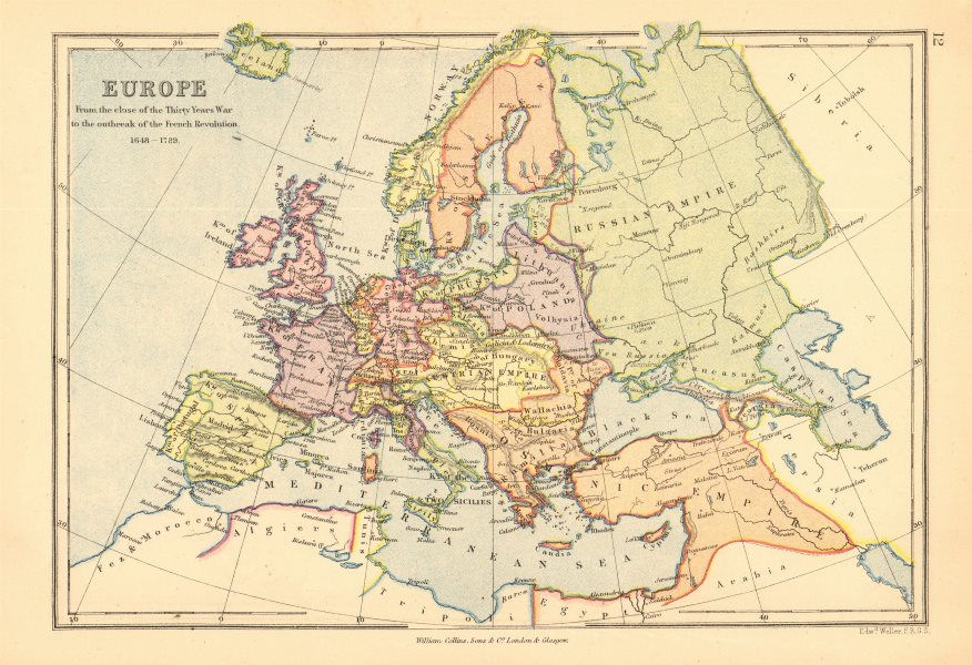Associate Product EUROPE 1648-1789. End of the Thirty years war to the French Revolution 1876 map