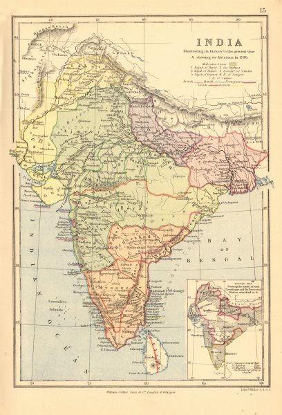 INDIA IN 1760. British French Dutch Portuguese Danish. BARTHOLOMEW 1876 map