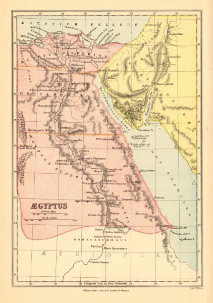 Associate Product ANCIENT EGYPT. 'Aegyptus'. BARTHOLOMEW 1876 old antique vintage map plan chart