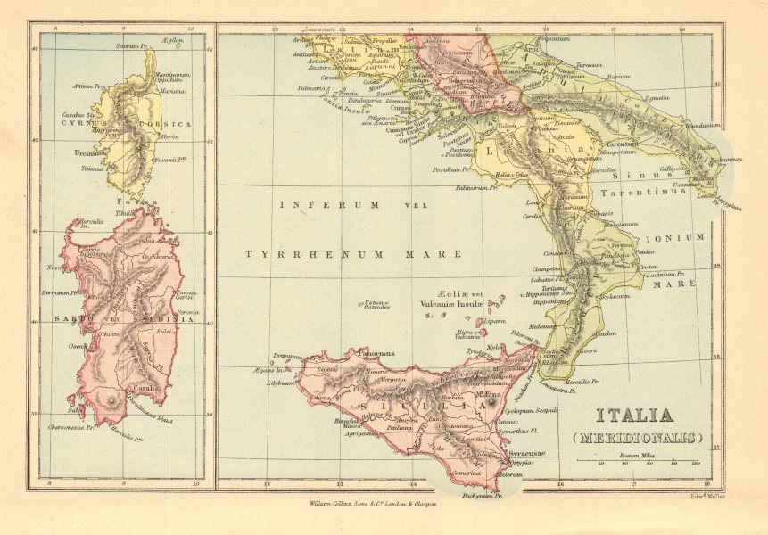 Associate Product ROMAN ITALY SOUTH 'Italia Meridionalis'. Sardo/Sardinia Cyrnus/Corsica 1876 map