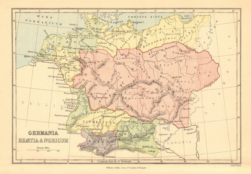 ANCIENT GERMANY. 'Germania Rhaetia & Noricum'. Roman provinces 1876 old map