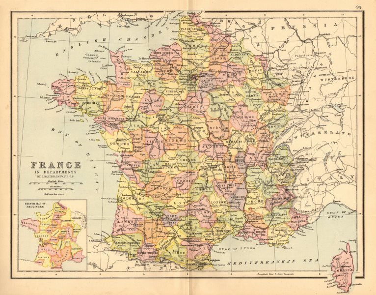 Associate Product 'France'. Railways. Departements. BARTHOLOMEW 1876 old antique map plan chart