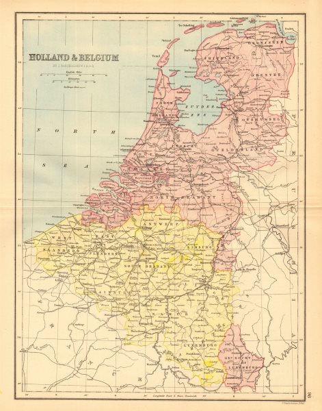 Associate Product BENELUX. 'Holland & Belgium'. Railways. Luxembourg. BARTHOLOMEW 1876 old map