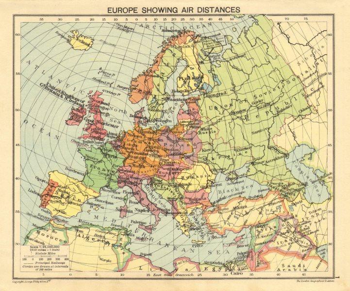 Second World War Europe Showing Air Distances Occupied Poland 1940
