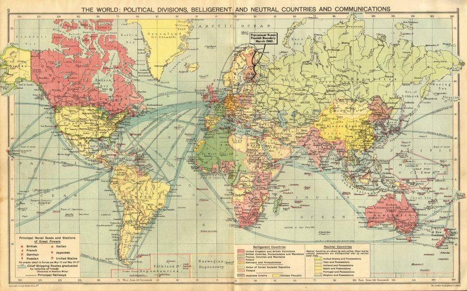 Associate Product WORLD WAR 2.Belligerent/Neutrals Naval bases Occupied Poland/Manchuria 1940 map