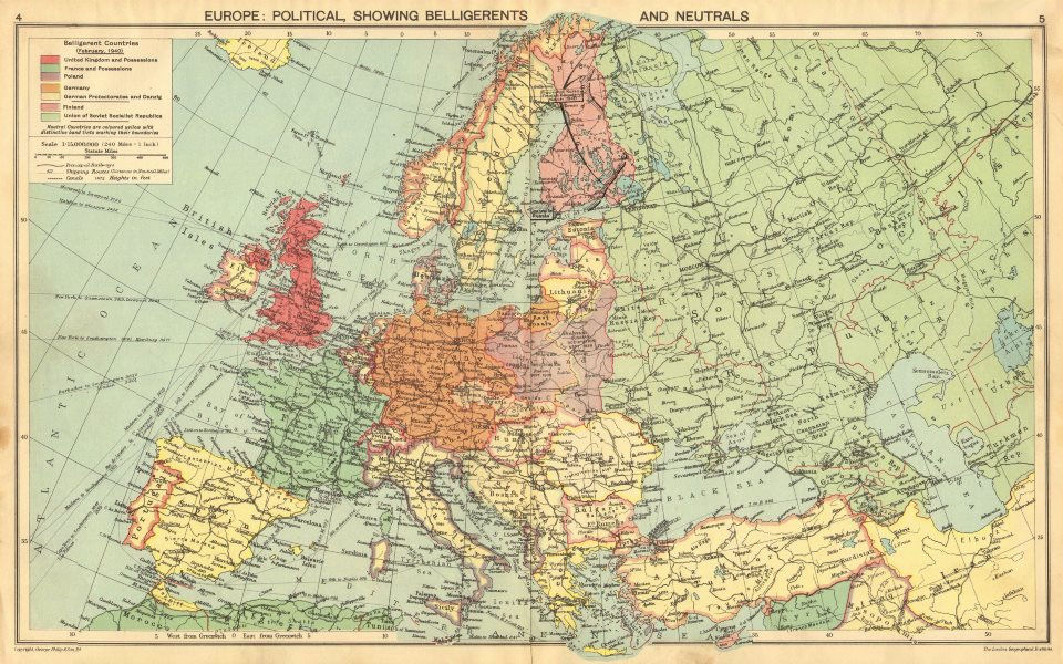Details about 1940 EUROPE. WW2.Belligerents/Neutrals Occupied  Poland/Finland Albania 1940 map