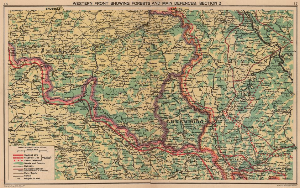 WORLD WAR 2. Maginot & Siegfried lines defences. Pre-invasion. Belgium 1940 map