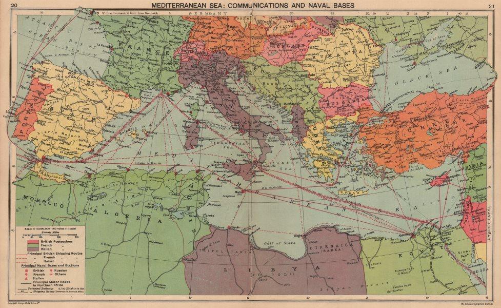 Associate Product 1940 MEDITERRANEAN SEA. WW2 Naval Bases. Italian Dodecanese Albania 1940 map