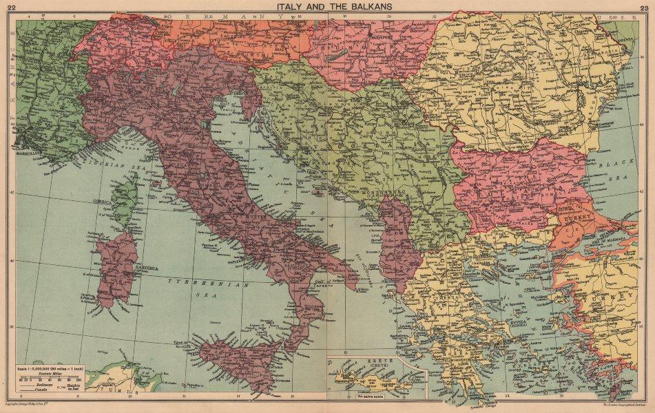 Associate Product WORLD WAR 2. Italian Istria Zara Lagosta Dodecanese Albania. Balkans 1940 map