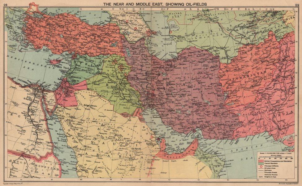 Associate Product WW2. Middle East oilfields 'Dibai'/Dubai Abu Dhabi Italian Dodecanese 1940 map